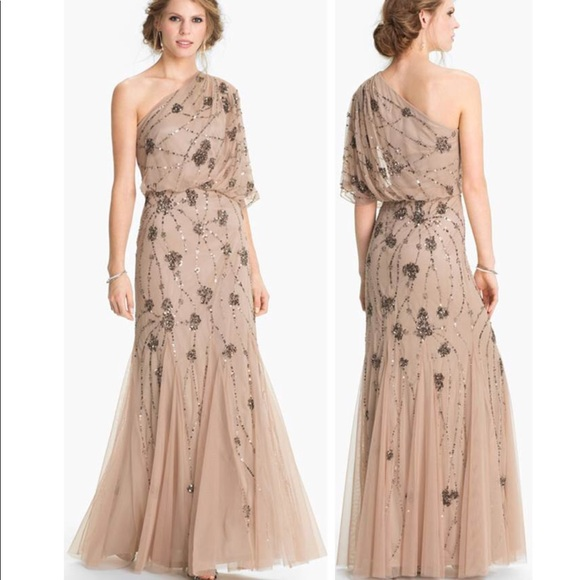 b08bea92db3 Adrianna Papell Dresses   Skirts - Adrianna Papell one shoulder beaded gown
